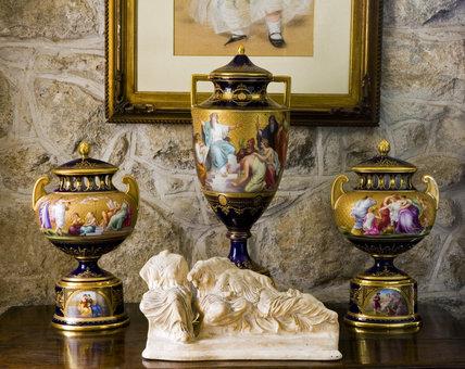 Late 19th-century Viennese vases on the side table in the Hall at Plas yn Rhiw, Pwllheli, Gwynedd