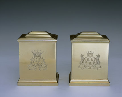 A pair of gilt tea caddies by Magdalen Feline, 1754/5, (DUN.S.275) part of the silver collection at Dunham Massey, photographed for the Country House Silver book.