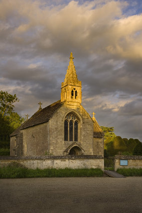The Parish Church of All Saints which stands alongside the the fifteenth-century Great Chalfield Manor, Wiltshire