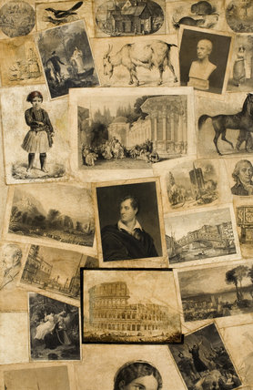 Detail of the prints on the decoupage scrap screen, decorated by Jane Carlyle in 1849, in the Drawing Room at Carlyle's House, 24 Cheyne Row, London