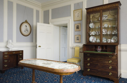 The Boudoir, looking towards the bureau/china cabinet at Hughenden Manor, Buckinghamshire, home of prime minister Benjamin Disraeli between 1848 and 1881