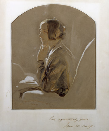 JANE CARLYLE, a portrait in crayon and watercolour by Karl Hartmann (born 1818) in the China Closet at Carlyle's House, 24 Cheyne Row, London