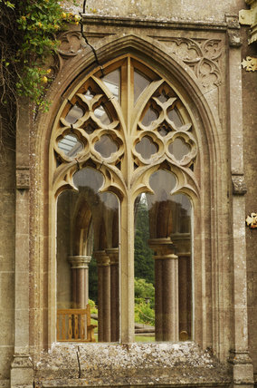 One of the elaborately traceried arched windows which look out on to the terrace at Tyntesfield, Wraxall, North Somerset