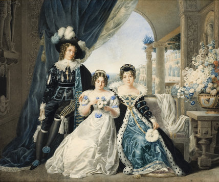 MARY ANNE, LADY ACTON, WITH HER CHILDREN IN FANCY DRESS by Raffaelle d'Aurea in the Tapestry Dressing Room at Coughton Court, Warwickshire