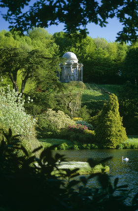 The Temple of Apollo, high on a hill overlooking the lake at Stourhead, eighteenth-century landscape garden, Wiltshire