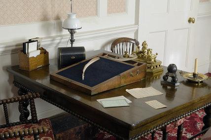 Disraeli's writing desk in the Study at Hughenden Manor, Buckinghamshire, home of prime minister Benjamin Disraeli between 1848 and 1881