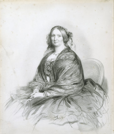 LADY HARRIET BARING, first wife of the Hon. William Baring, later Lord Ashburton, a lithograph by Francis Holl, in the Drawing Room at Carlyle's House, London.