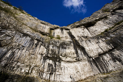 A dizzying view of Malham Cove on a sunny day in late autumn, Yorkshire Dales National Park