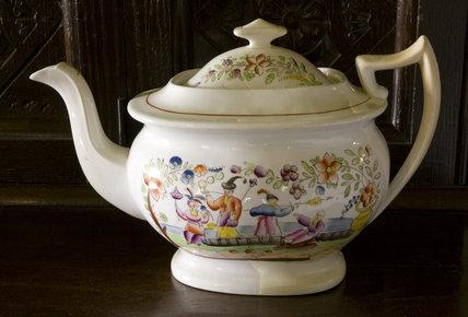 A china teapot in the Hall at Plas yn Rhiw, Pwllheli, Gwynedd