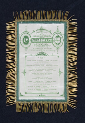 Tasselled paper menu for the Reception of His Imperial Majesty The Sultan at the Guildhall in 1867, at Hughenden Manor, Buckinghamshire, home of prime minister Benjamin Disraeli between 1848 and 1881