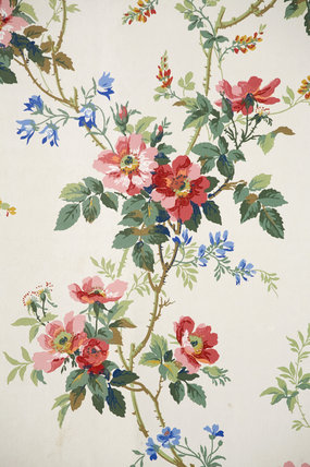 Detail of the floral pattern wallpaper in the Parlour at Carlyle's House, 24 Cheyne Row, London