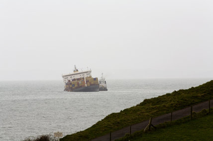 The stricken MSC Napoli after shedding its cargo, now washed up on the beach at Branscombe, Devon