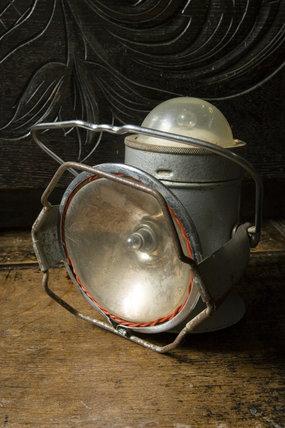 Battery-powered metal lantern in the Kitchen at Plas yn Rhiw, Pwllheli, Gwynedd