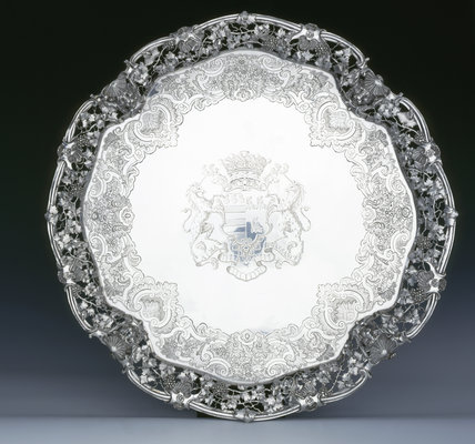 A large salver by Peter Archambo, 1739/40, (DUN.S.482) part of the silver collection at Dunham Massey, photographed for the Country House Silver book.