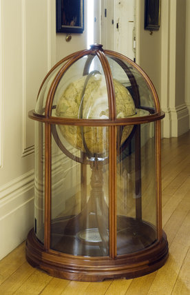 Globe in a glass case in the Near East Corridor at Ickworth, Suffolk