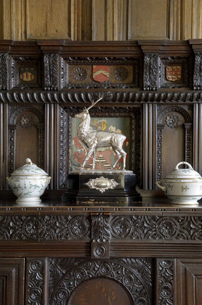 The wooden buffet in the Dining Room at Coughton Court, Warwickshire