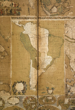 Close detail of part of the map screen in the Hall in the new house at Scotney Castle, Kent