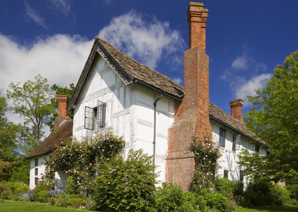 A chimney dominates the side of Lower Brockhampton House, the medieval manor house on the Brockhampton Estate in Worcestershire