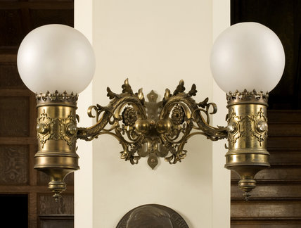 Light fixture in the Hall in the new house at Scotney Castle, Kent