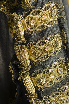Detail of the black silk damask robe used by Disraeli as Chancellor of the Exchequer in the Bartolozzi Room at Hughenden Manor, Buckinghamshire, home of prime minister Benjamin Disraeli between 1848 and 1881