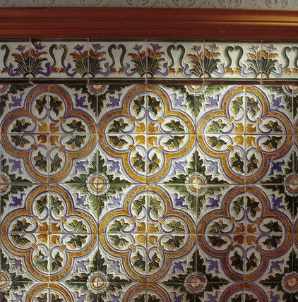 Polychrome tiles in high relief from the first floor corridor