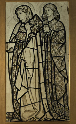 Standen, Burne-Jones stained glass figures with lilies