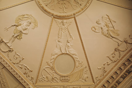 Hatchlands, detail of the library ceiling showing plasterwork figures