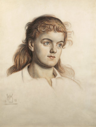 GLADYS HOLMAN HUNT, daughter of Holman Hunt, in chalks,1891 signed with monogram by Holman Hunt at Wightwick Manor