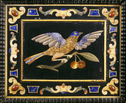 Detail of Pietra Dura table top from Hinton Ampner showing a bird on a cherry branch