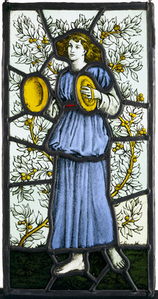 Painted glass, player with cymbals, by William Morris & Co, at Wightwick Manor