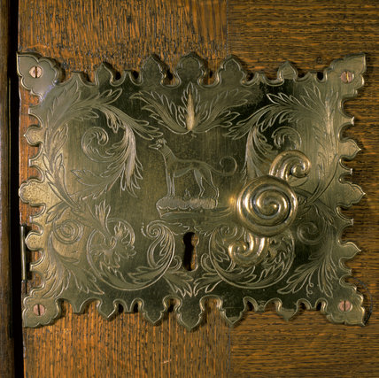 Lock plate with the Brownlow crest of a greyhound