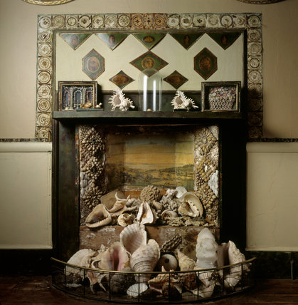 The Shell Chimneypiece in the Drawing Room at A La Ronde in Devon