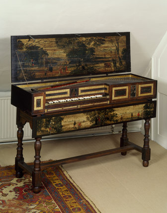 Virginal by Robert Hatley, London, 1664, with unique feature of pair of music drawers underneath the keyboard, at Fenton House