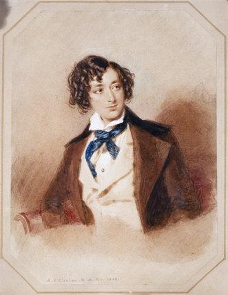 BENJAMIN DISRAELI by A E Chalon 1840 at Hughenden