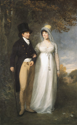 WILLIAM IV BLATHWAYT & his wife FRANCES, with Dyrham Park in the background