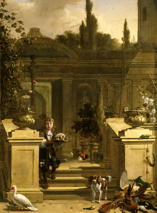 A YOUNG SERVING BOY AND DEAD GAME by Melchior de Hondecoeter (1636-95) from Belton House
