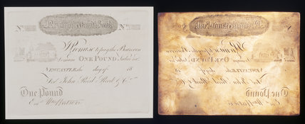 An engraved bank note for one pound and the original copper plate, for the Northumberland Bank, by Thomas Bewick (1753-1828) at Cherryburn