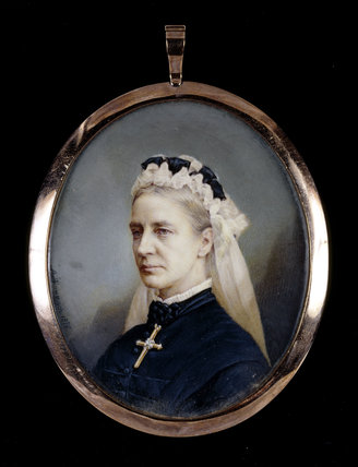MATILDA BLANCHE GIBBS in old age. One of a pair of miniatures by Antonio Tomasich Haro (1820-90) at Tyntesfield.
