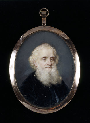 WILLIAM GIBBS in old age, one of a pair of miniatures by Antonio Tomasich Haro (1820-90) at Tyntesfield