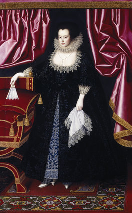 Painting, post conservation, of LADY SEYMOUR by William Larkin at Petworth House