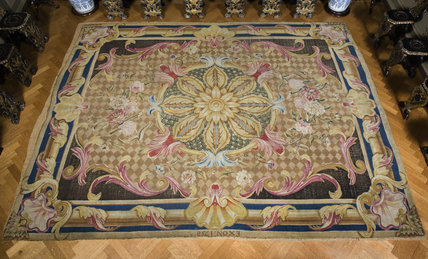 The Exeter carpet, dated EXON 1758, on the Grand Staircase at Petworth House, West Sussex