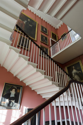 A view of the Staircase looking up from the ground floor at Coughton Court, Warwickshire