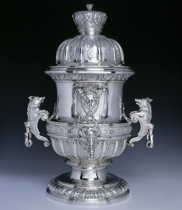 A large fountain made by Peter Archambo, c.1728, for George Booth 2nd Earl of Warrington, (DUN.S.) Part of the silver collection at Dunham Massey, photographed for the Country House Silver book.