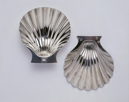 A pair of scallop shell bowls by Peter Archambo, 1729/30 (DUN.S.289L), part of the silver collection at Dunham Massey, photographed for the Country House Silver book.