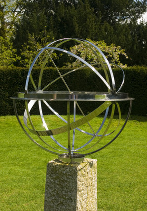 The Armillary sphere on the lawn at Coughton Court, Warwickshire