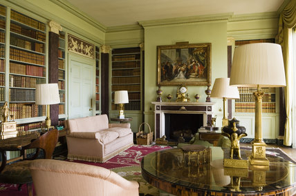 The Library at Hinton Ampner, Hampshire with Regency furniture and Ralph Dutton's collection of books