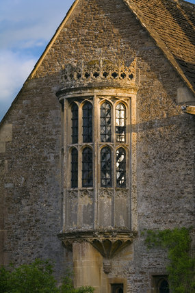 The East Oriel window which lights the Solar at the fifteenth-century Great Chalfield Manor, Wiltshire