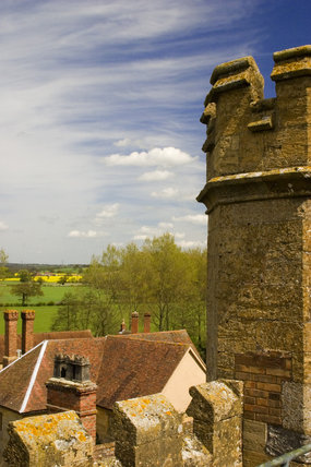 A view across the rooftops from the Tower at Coughton Court, Warwickshire