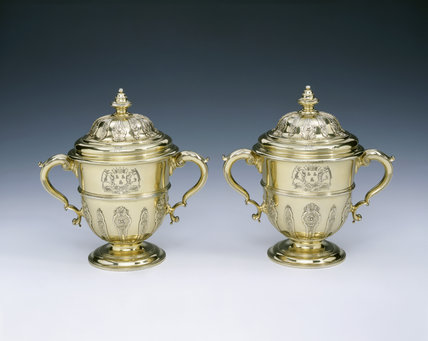 A pair of George II silver-gilt two handled cups and covers by Peter Archer, 1731/2 (DUN.S.273), part of the silver collection at Dunham Massey, photographed for the Country House Silver book.