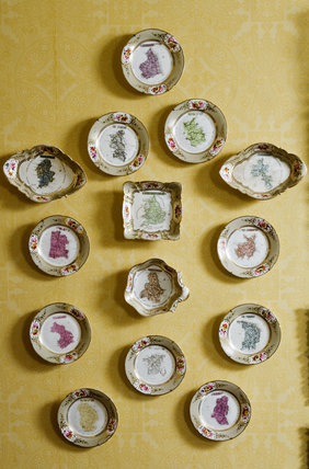 1830s Coalport service with painted maps of the counties of England in the Little Drawing Room at Coughton Court, Warwickshire